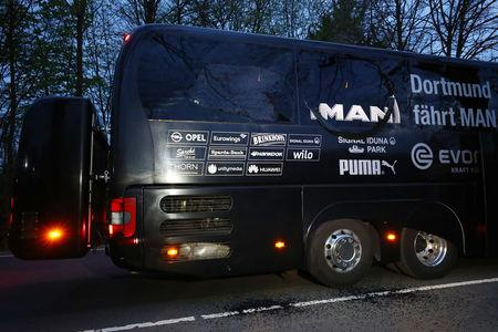 The Borussia Dortmund team bus is seen after an explosion near their hotel before the game
