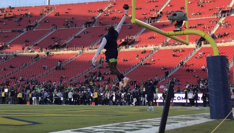 No ladder needed: D.K. Metcalf makes this one-handed grab look easy