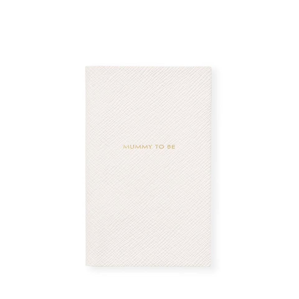 """Wrapped in buttery leather, Smythson's sophisticated cream-colored journal has a baby index that's perfect for taking note of those once-in-a-lifetime firsts. $75, Saks Fifth Avenue. <a href=""""https://www.saksfifthavenue.com/smythson-panama-mummy-to-be-leather-notebook/product/0400011241453"""" rel=""""nofollow noopener"""" target=""""_blank"""" data-ylk=""""slk:Get it now!"""" class=""""link rapid-noclick-resp"""">Get it now!</a>"""