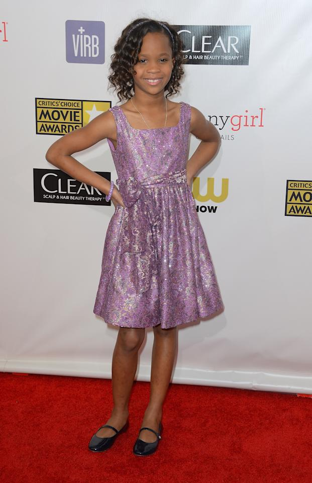 SANTA MONICA, CA - JANUARY 10:  Actress Quvenzhané Wallis  arrives at the 18th Annual Critics' Choice Movie Awards at Barker Hangar on January 10, 2013 in Santa Monica, California.  (Photo by Frazer Harrison/Getty Images)