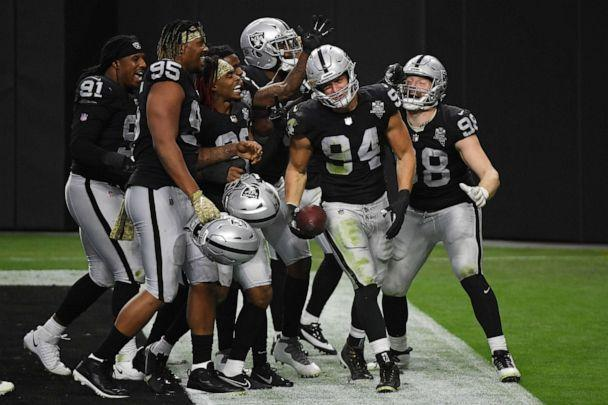 PHOTO: Carl Nassib of the Las Vegas Raiders celebrates an interception with teammates against the Denver Broncos during the second half at Allegiant Stadium on Nov. 15, 2020, in Las Vegas. (Ethan Miller/Getty Images, FILE)