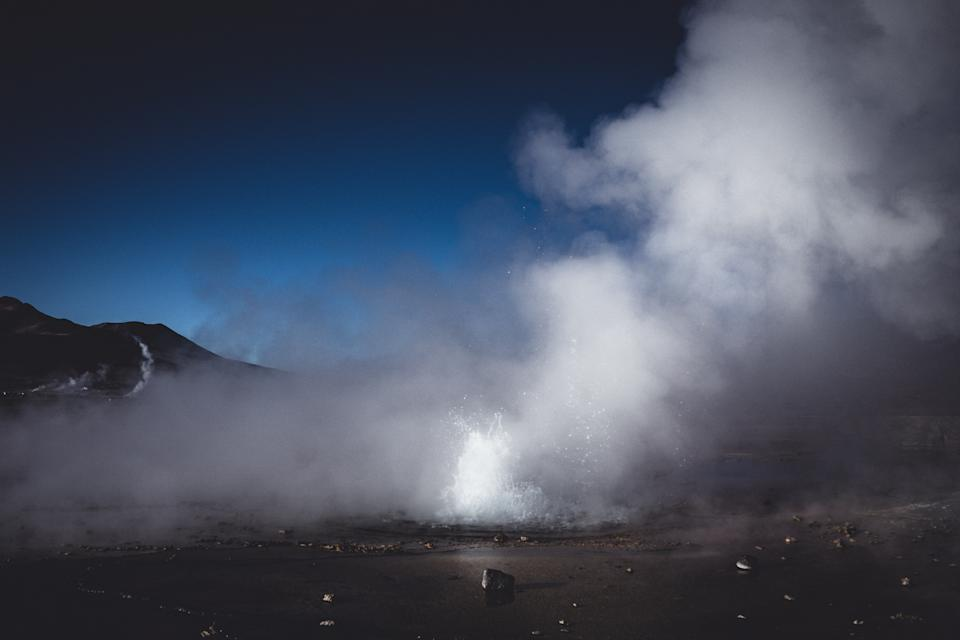 Panoramic background with Geyser high up in Atacama desert, Chile