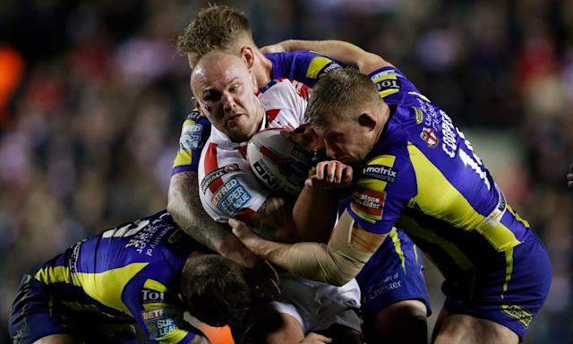 """<span class=""""element-image__caption"""">Warrington's defence have their hands full coping with Leigh's Jamie Acton in the Super League match at Leigh Sports Village.</span> <span class=""""element-image__credit"""">Photograph: Lee Smith/Reuters</span>"""