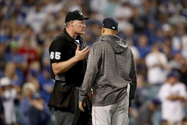 Umpire Ted Barrett worked all seven hours, 20 minutes behind home plate during World Series Game 3. (Getty Images)