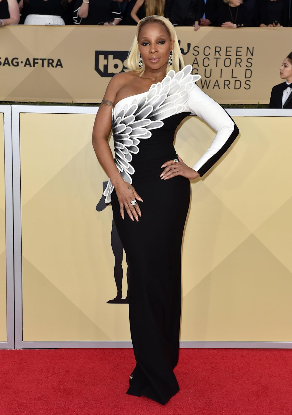 <p>Law went for a Black Swan approach for Mary J. Blige for an awards show in 2018 - and nailed it with this Jean-Louis Sabaji dress.</p>