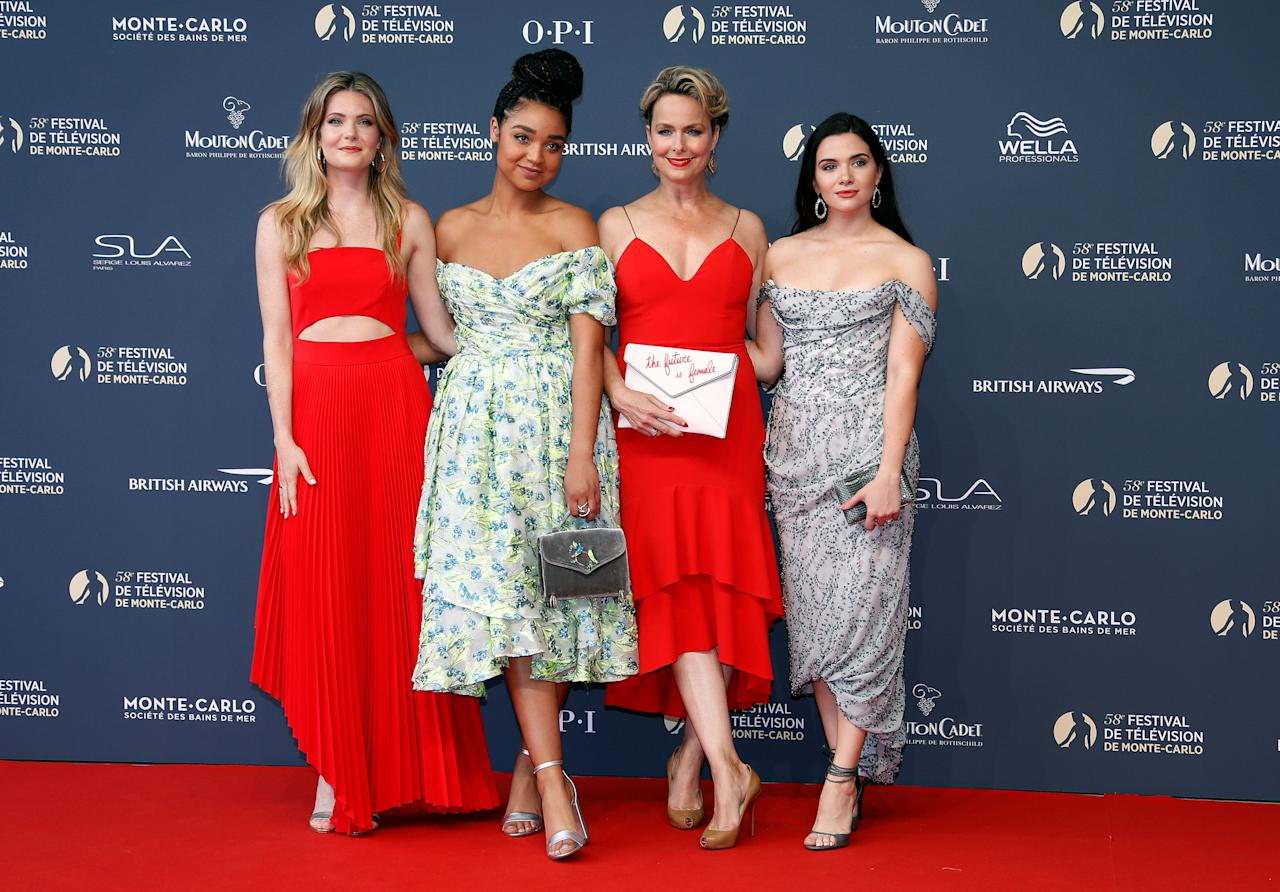 REFILE - REMOVING FAHY'S CHARACTER NAME Actors Meghann Fahy, Aisha Dee, Melora Hardin and Katie Stevens pose during the opening ceremony of the 58th Monte-Carlo Television Festival in Monaco, June 15, 2018. REUTERS/Eric Gaillard