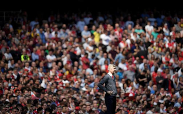"""Soccer Football - Premier League - Arsenal v West Ham United - Emirates Stadium, London, Britain - April 22, 2018 Arsenal manager Arsene Wenger REUTERS/Toby Melville EDITORIAL USE ONLY. No use with unauthorized audio, video, data, fixture lists, club/league logos or """"live"""" services. Online in-match use limited to 75 images, no video emulation. No use in betting, games or single club/league/player publications. Please contact your account representative for further details. TPX IMAGES OF THE DAY"""