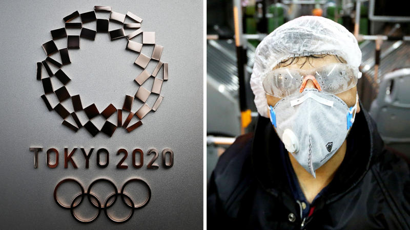 The Olympics symbol in Tokyo and a train passenger with a mask on due to fears of the Coronavirus.