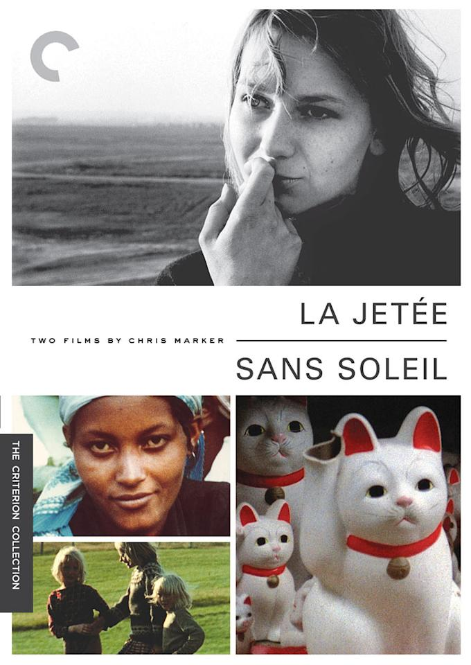 "<a href=""http://movies.yahoo.com/movie/1800182331/info"">SANS SOLEIL</a> (1982) <br>Directed by: Chris Marker<br><br>During the Parisian protests of 1968, students scrawled on the walls ""the Sorbonne should be razed and Chris Marker put in its place. ""After watching ""Sans Soleil,"" you can understand the sentiment. The movie is a dizzyingly dense extended essay cut against a montage of footage shot in such far-flung places as Japan, Iceland, and Guinea-Bissau. Part travelogue, part science-fiction movie, part meditation on the nature of memory, ""Sans Soleil"" is a mesmerizing, elusive, and illuminating experience that all but demands repeated viewings.  <a href=""http://www.criterion.com/films/304-sans-soleil?q=autocomplete"">Criterion Collection</a>"
