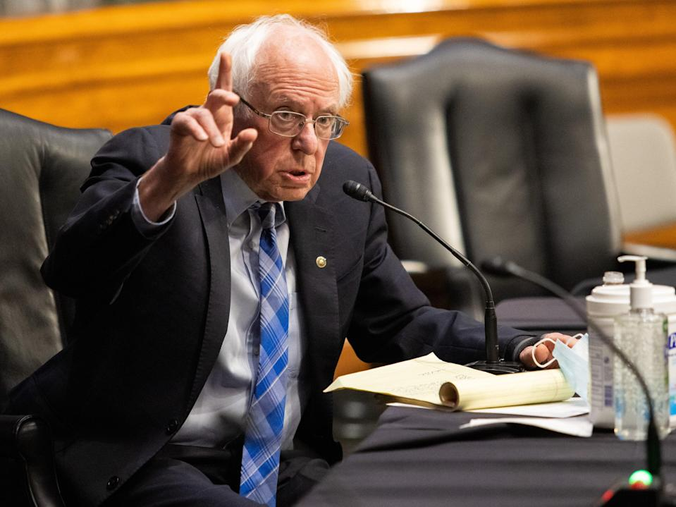 <p>Bernie Sanders (I-VT) speaks during the confirmation hearing for Secretary of Energy nominee Jennifer Granholm before the Senate Committee on Energy and Natural Resources on Capitol Hill on 27 January 2021 in Washington, DC</p> ((Getty Images))