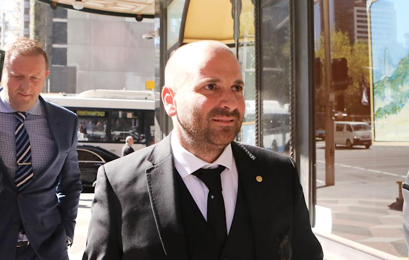 SYDNEY, AUSTRALIA - SEPTEMBER 08: Celebrity chef George Calombaris arrives to Downing Centre Local Court on September 8, 2017 in Sydney, Australia. The celebrity chef was charged with assault following an altercation at the A-League grand final in May. (Photo by Daniel Munoz/WireImage)