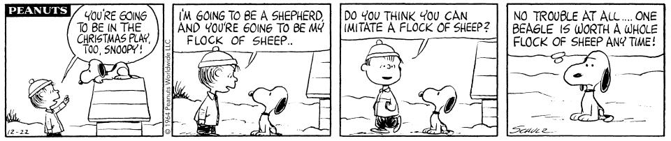 A 1964 'Peanuts' storyline featured Linus and Snoopy appearing in a school Christmas pageant, an idea later borrowed for 'A Charlie Brown Christmas' (Photo: Peanuts Worldwide)
