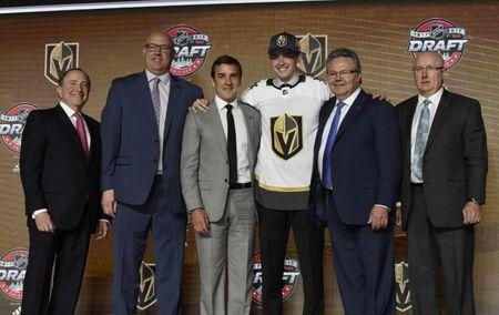 June 23, 2017; Chicago, IL, USA; Cody Glass poses for photos after being selected as the number six overall pick to the Vegas Golden Knights in the first round of the 2017 NHL Draft at the United Center. Mandatory Credit: David Banks-USA TODAY Sports