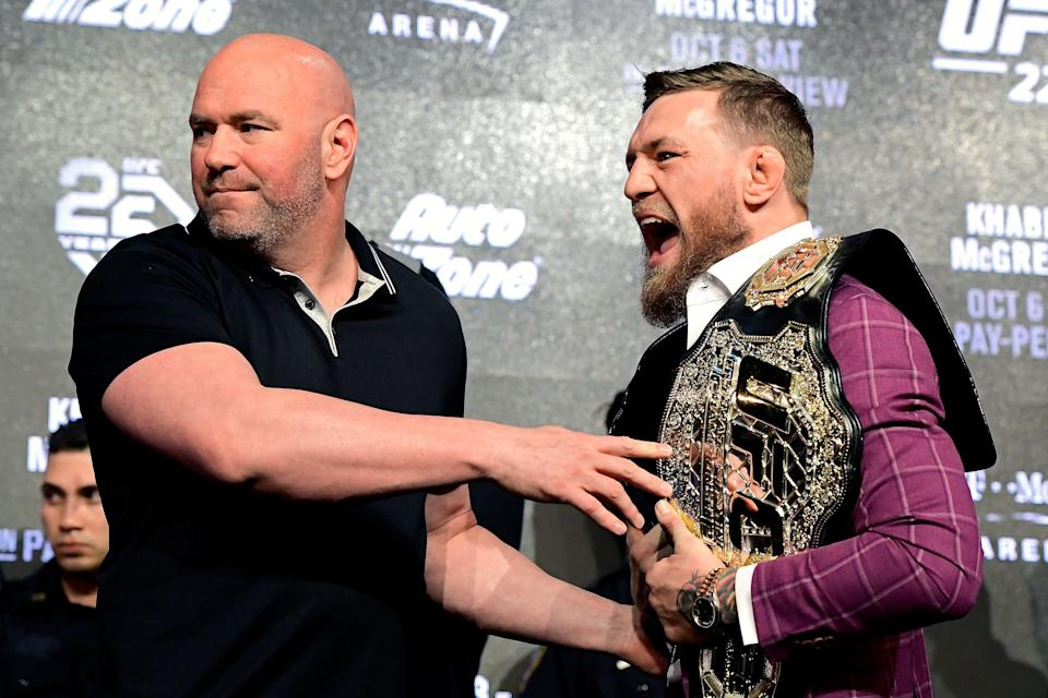 NEW YORK, NY - SEPTEMBER 20: Conor McGregor is held back by UFC President Dana White during the UFC 229 Press Conference at Radio City Music Hall on September 20, 2018 in New York City.  (Photo by Steven Ryan/Getty Images)