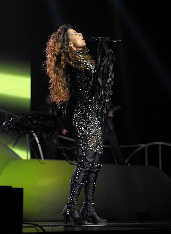 "LAS VEGAS, NV - DECEMBER 01:  Singer Shania Twain performs during the debut of her residency show ""Shania: Still the One"" at The Colosseum at Caesars Palace on December 1, 2012 in Las Vegas, Nevada.  (Photo by Denise Truscello/Getty Images)"