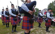 Competitors take part in the Belgian Pipe Band Championship during the Scottish Weekend event in Belgium's Flanders village of Bilzen September 13, 2014. REUTERS/Yves Herman