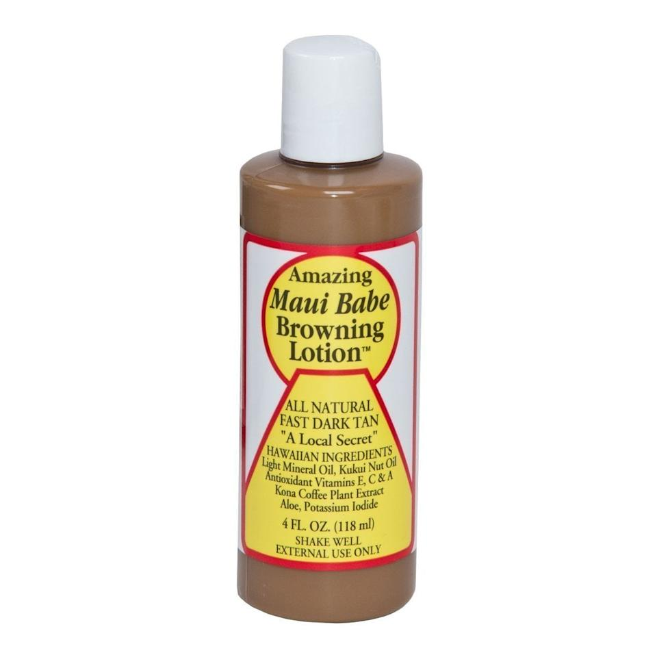 """<h3>Maui Babe Browning Lotion</h3><br><strong>Leslie</strong><br><br>""""As a dedicated self-tan user, I've tried just about every brand and trick in the book and am always down to test new suggestions. This did NOT disappoint. First off, it smells amazing (no stinky self-tanner smell). It goes on smooth, makes my skin feel soft, and I really liked how I was able to use it with the natural effects of the sun in a minimal amount of time to get a deep glow without overexposing my skin! Love it.""""<br><br><strong>Maui Babe</strong> Browning Lotion 4oz, $, available at <a href=""""https://amzn.to/2XvOOj7"""" rel=""""nofollow noopener"""" target=""""_blank"""" data-ylk=""""slk:Amazon"""" class=""""link rapid-noclick-resp"""">Amazon</a>"""