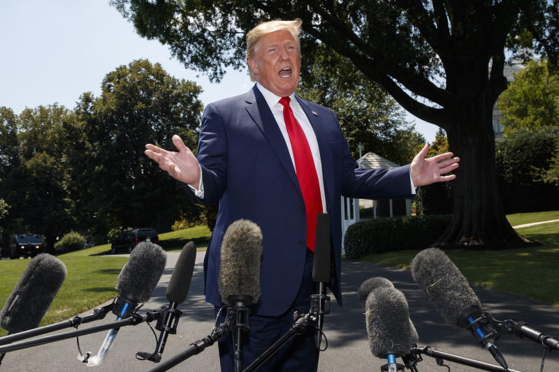 President Donald Trump speaks to media on Tuesday, July 30, 2019, as the returns from Virginia. (Photo: Carolyn Kaster/AP)
