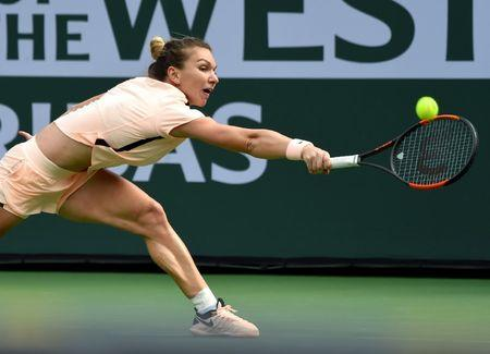 Mar 14, 2018; Indian Wells, CA, USA; Simona Halep during her quarterfinal match against Petra Martic (not pictured) in the BNP Paribas Open at the Indian Wells Tennis Garden. Mandatory Credit: Jayne Kamin-Oncea-USA TODAY Sports
