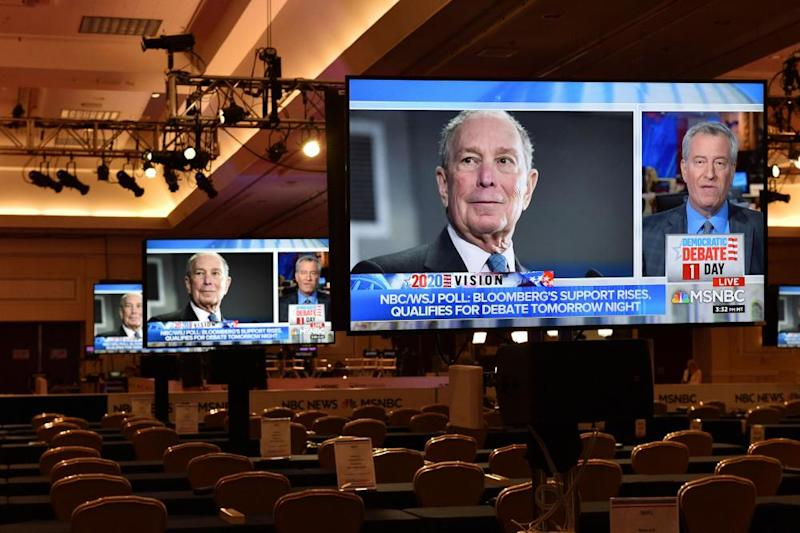 Television images of the Democratic presidential candidate Mike Bloomberg