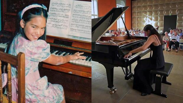Mahani Teave became enamored with the first piano on the island of Rapa Nui. She would go on to a career as an internationally recognized concert pianist. / Credit: CBS News