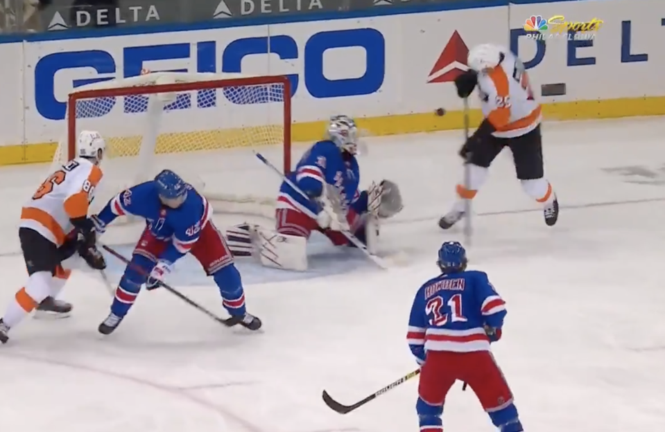 James van Riemsdyk appears to be alright after this painful