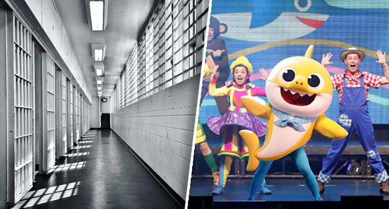 A row of prison cells (left) and the Baby Shark mascot at a live show.