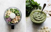 """<p>Elevate your favorite steak with a tasty pesto. This one is made with fresh cilantro, cotija cheese, slivered almonds, red onions, garlic, olive oil, and lime juice</p><p><strong>Get the recipe at <a href=""""https://www.isabeleats.com/grilled-skirt-steak-with-cilantro-pesto/"""" rel=""""nofollow noopener"""" target=""""_blank"""" data-ylk=""""slk:Isabel Eats"""" class=""""link rapid-noclick-resp"""">Isabel Eats</a>.</strong></p><p><a class=""""link rapid-noclick-resp"""" href=""""https://go.redirectingat.com?id=74968X1596630&url=https%3A%2F%2Fwww.walmart.com%2Fbrowse%2Fhome%2Ffood-processors%2F4044_90548_90546_4813_6198960&sref=https%3A%2F%2Fwww.thepioneerwoman.com%2Ffood-cooking%2Frecipes%2Fg36383850%2Fsteak-sauce-recipes%2F"""" rel=""""nofollow noopener"""" target=""""_blank"""" data-ylk=""""slk:SHOP FOOD PROCESSORS"""">SHOP FOOD PROCESSORS</a></p>"""