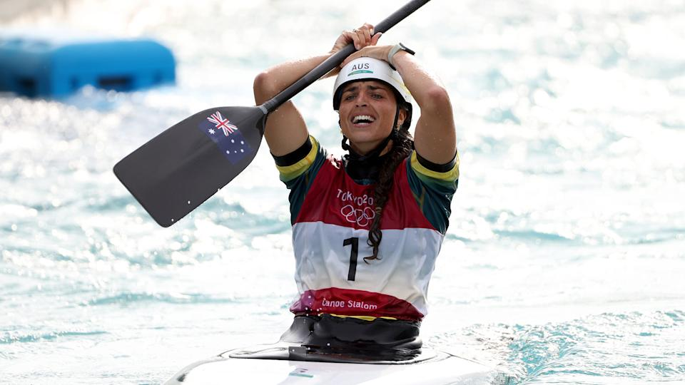Jessica Fox of Team Australia reacts after winning her bronze medal. (Photo by Harry How/Getty Images)