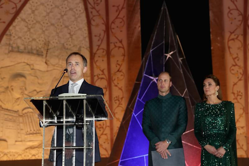 ISLAMABAD, PAKISTAN - OCTOBER 15: Thomas Drew, High Commissioner to Pakistan gives a speech as Prince William, Duke of Cambridge and Catherine, Duchess of Cambridge attend a special reception hosted by the British High Commissioner Thomas Drew, at the Pakistan National Monument, during day two of their royal tour of Pakistan on October 15, 2019 in Islamabad, Pakistan. (Photo by Chris Jackson/Getty Images)