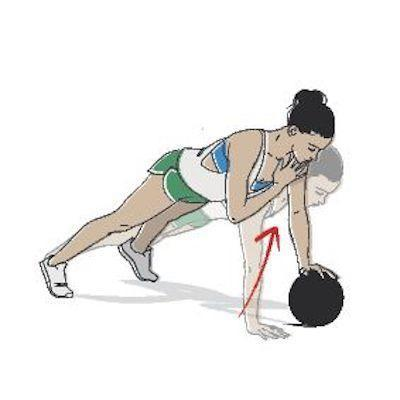 <p><strong>Needed: </strong>Medicine ball<strong>.</strong></p><p><strong>1/ </strong>Start with your body in a plank position, making sure it's in a straight line, with your feet balancing on your toes. Place one hand atop a medicine ball - your upper body will be angled down slightly with the different levels.</p><p><strong>2/ </strong>In a swift movement bring one hand up to tap your opposite shoulder, and then quickly pop it back on the floor. Roll the ball to the other side, place your opposite hand on it and repeat the move with the other hand, all the while making sure your body is slightly shifting from one side to the other in order to stay balanced. </p>