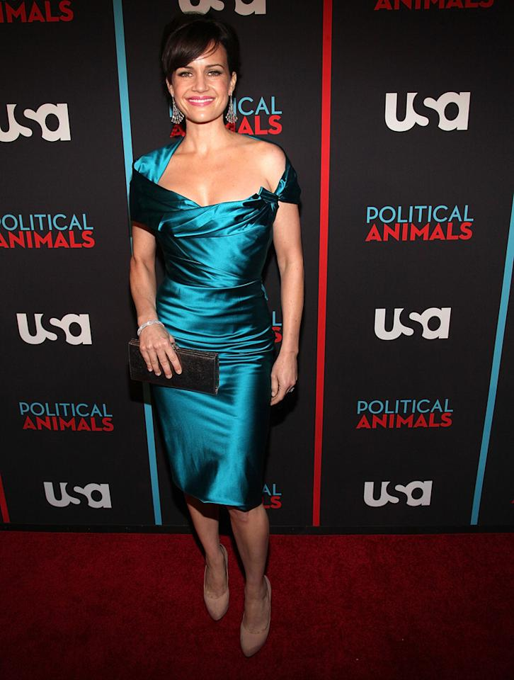 """Carla Gugino attends the """"Political Animals"""" premiere at The Morgan Library & Museum on June 25, 2012 in New York City."""