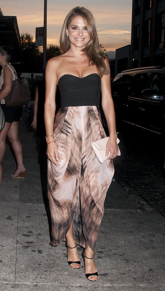 "Don't be alarmed! Those aren't harem pants. TV hostess with the mostest Maria Menounos is actually wearing a bandeau dress, courtesy of Aussie fashion house Wish. Don't you think that whimsical cut and color combo look fab against her glowing tan? We certainly do! (7/10/2012)<br><br><a target=""_blank"" href=""http://twitter.com/YahooOmg"">Follow omg! on Twitter!</a>"