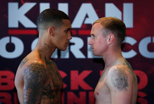 Boxing - Conor Benn & Chris Truman Weigh-In - Hilton Hotel, Liverpool, Britain - April 20, 2018 Conor Benn and Chris Truman go head to head during the weigh in Action Images via Reuters/Andrew Couldridge
