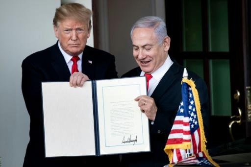 Trump hosted Netanyahu at the White House in March 2019, signing a proclamation recognising the annexed Golan Heights as Israel sovereign territory