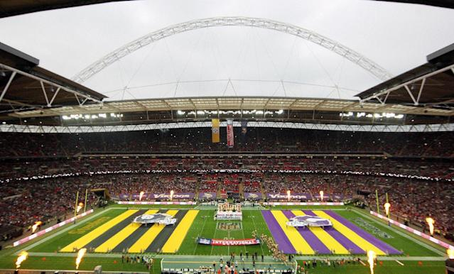 Team flags are displayed on the field ahead of the NFL game between the Pittsburgh Steelers and Minnesota Vikings at Wembley Stadium, London, Sunday, Sept. 29, 2013. (AP Photo/Nicky Hayes, NFL UK)