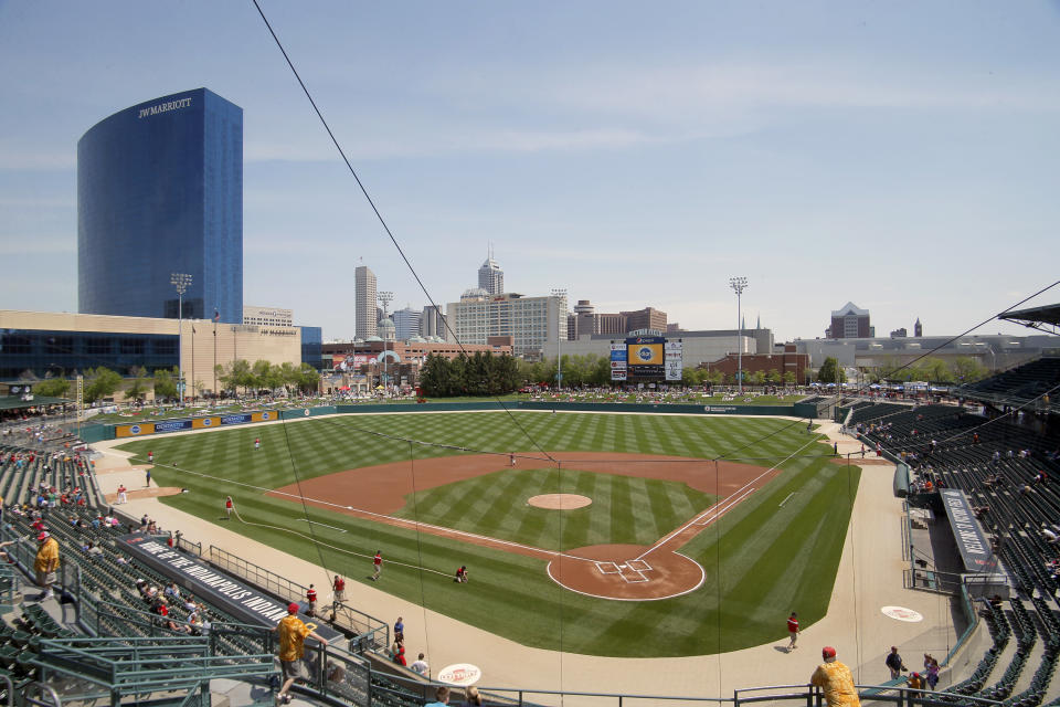 A wide shot of Victory Field prior to an Indianapolis Indians game.
