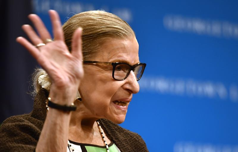 Supreme Court Justice Ruth Bader Ginsburg speaks to Georgetown University law students in Washington last week. (NICHOLAS KAMM / AFP via Getty Images)
