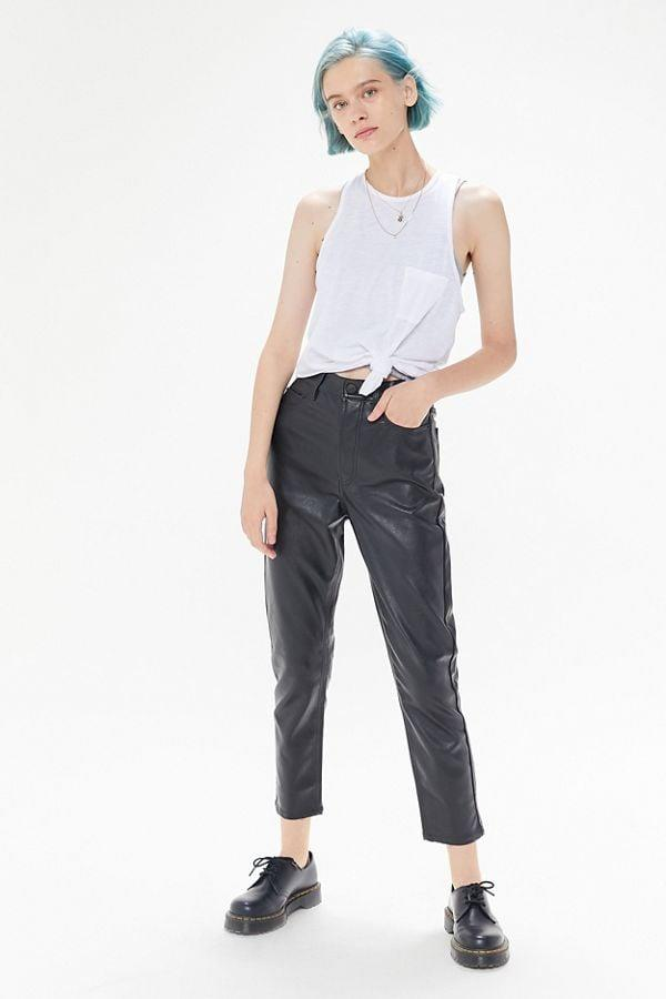 """<p>These <a href=""""https://www.popsugar.com/buy/BDG-Faux-Leather-Cigarette-Pants-477759?p_name=BDG%20Faux%20Leather%20Cigarette%20Pants&retailer=urbanoutfitters.com&pid=477759&price=64&evar1=fab%3Aus&evar9=46479254&evar98=https%3A%2F%2Fwww.popsugar.com%2Ffashion%2Fphoto-gallery%2F46479254%2Fimage%2F46479265%2FBDG-Faux-Leather-Cigarette-Pant&list1=shopping%2Cfall%20fashion%2Cfall%2Cleather&prop13=api&pdata=1"""" rel=""""nofollow"""" data-shoppable-link=""""1"""" target=""""_blank"""" class=""""ga-track"""" data-ga-category=""""Related"""" data-ga-label=""""https://www.urbanoutfitters.com/shop/bdg-faux-leather-cigarette-pant?category=SEARCHRESULTS&amp;color=001"""" data-ga-action=""""In-Line Links"""">BDG Faux Leather Cigarette Pants</a> ($64) will look so cool with a crop top.</p>"""