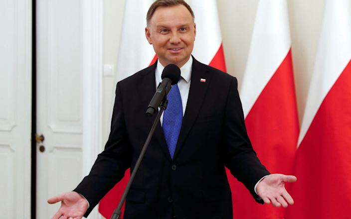 Polish president Andrezj Duda, pictured after the exit polls were announced on Sunday - Reuters
