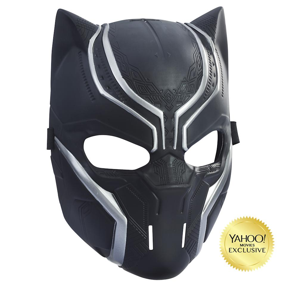 """<p>""""Kids can pretend to be the hero legend, Black Panther, with this mask. Design inspired by the movie, this mask also features a flexible band to fit most ordinary mortals."""" $9.99 (Photo: Hasbro) </p>"""