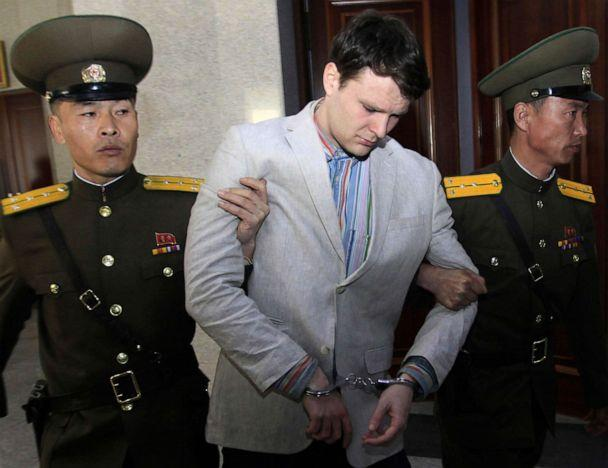 PHOTO: In this March 16, 2016, file photo, American student Otto Warmbier, center, is escorted at the Supreme Court in Pyongyang, North Korea. (Jon Chol Jin/AP, FILE)