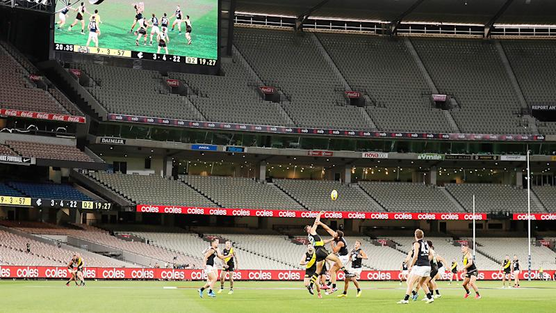 Richmond and Carlton, pictured here playing behind closed doors at the MCG.