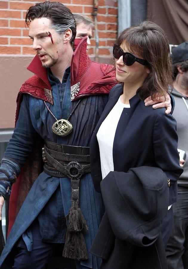 Benedict and his wife Sophie Hunter on the set of Doctor Strange. Source: Getty