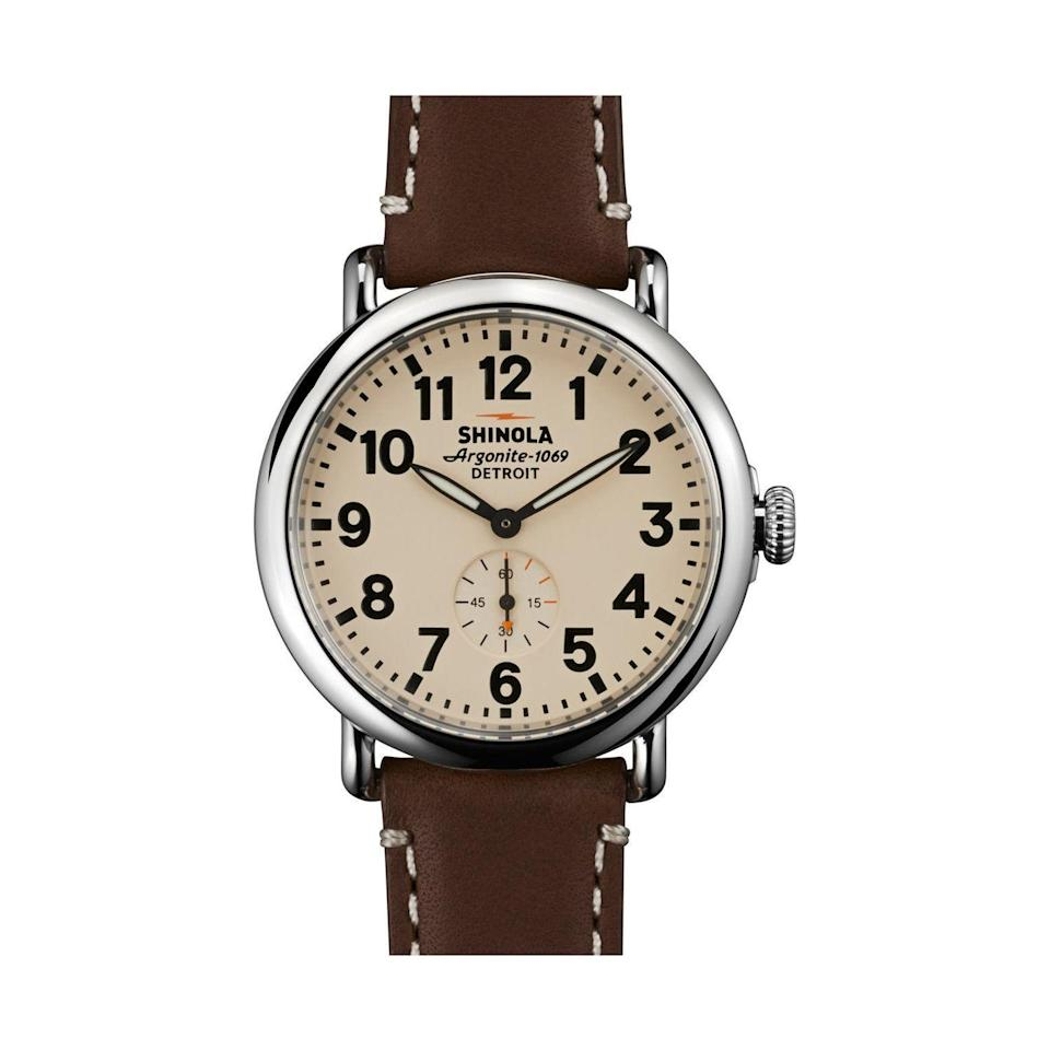 """<p><strong>SHINOLA</strong></p><p>nordstrom.com</p><p><strong>$550.00</strong></p><p><a href=""""https://go.redirectingat.com?id=74968X1596630&url=https%3A%2F%2Fshop.nordstrom.com%2Fs%2Fshinola-the-runwell-leather-strap-watch-41mm%2F4158341&sref=https%3A%2F%2Fwww.menshealth.com%2Ftechnology-gear%2Fg37546941%2Fbest-gifts-for-mechanics%2F"""" rel=""""nofollow noopener"""" target=""""_blank"""" data-ylk=""""slk:BUY IT HERE"""" class=""""link rapid-noclick-resp"""">BUY IT HERE</a></p><p>If you're looking for a really good <a href=""""https://www.menshealth.com/technology-gear/g34417533/best-boyfriend-gifts/"""" rel=""""nofollow noopener"""" target=""""_blank"""" data-ylk=""""slk:boyfriend gift"""" class=""""link rapid-noclick-resp"""">boyfriend gift</a> that hints at his hobbies but he can use all the time, Shinola's Runwell watch is perfect. The solid steel case and expertly made leather will last a lifetime. </p>"""