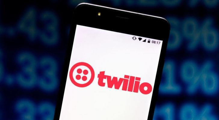 The Twilio (TWLO) logo is displayed over a white background on a smartphone screen.