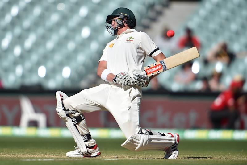 Australia's batsman Matt Renshaw avoids a bouncer from South Africa on the fourth day of the third Test in Adelaide