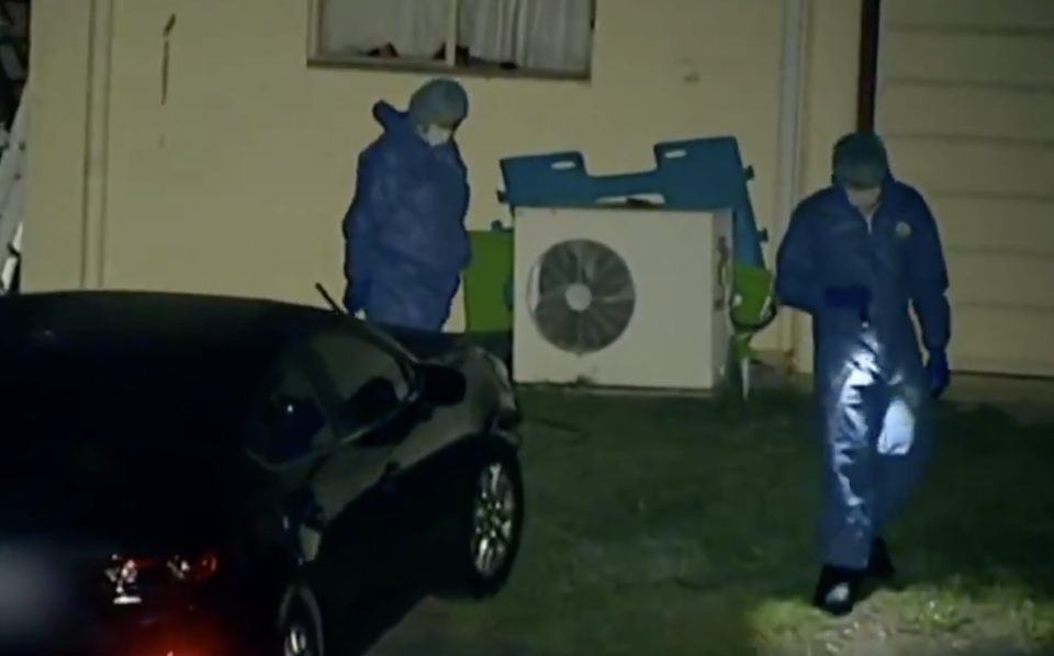 Detectives at the scene of the stabbing death of a 53-year-old man. Source: Nine News