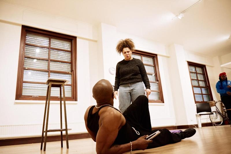 The cast of Bullet Tongue in rehearsals (Olive Grove)