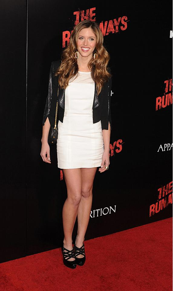 """<a href=""""http://movies.yahoo.com/movie/contributor/1809907387"""">Kayla Ewell</a> at the Los Angeles premiere of <a href=""""http://movies.yahoo.com/movie/1810129048/info"""">The Runaways</a> - 03/11/2010"""